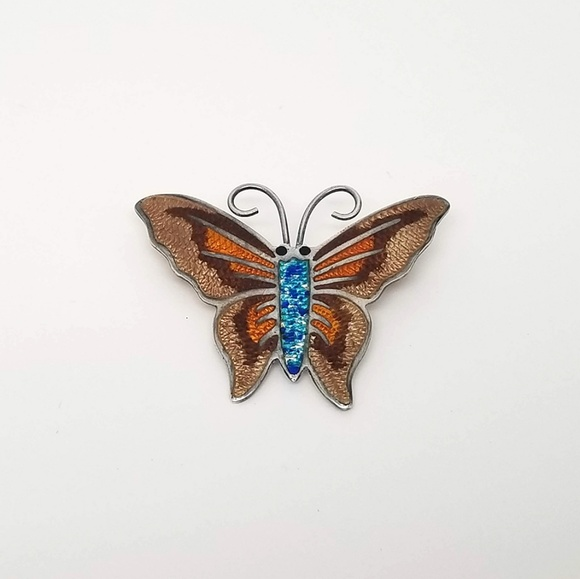7fa91515042b9 VINTAGE MEXICAN SILVER ENAMELED BUTTERFLY PIN